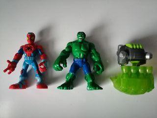 figuras Superheroes marvel Spiderman y hulk