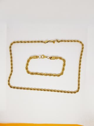 Conjunto cadena+eslava oro chapado 14k. golfie