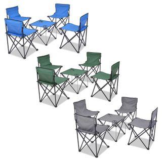 Juego Muebles Mesa Sillas Plegables de Camping 5 P