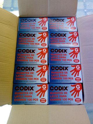 10 cajas de guantes de latex azules. 100 guantes