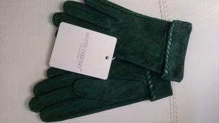 Guantes en piel de serraje verde