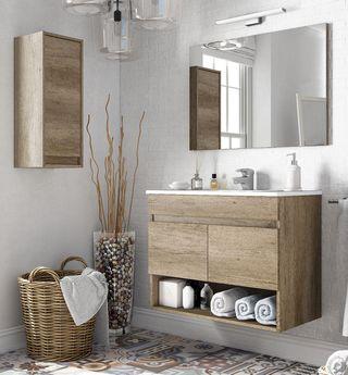 Pack mueble de baño con espejo lavabo de pmma y ar