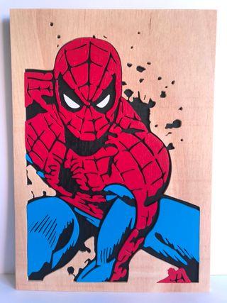 Spiderman Cuadro de madera calado con sierra