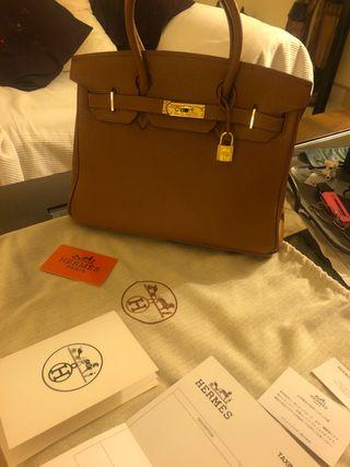 Hermes tan bag