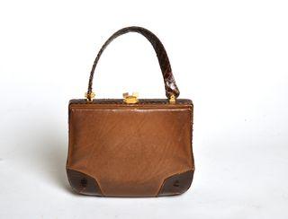 bolso de piel vintage, bitono marrón