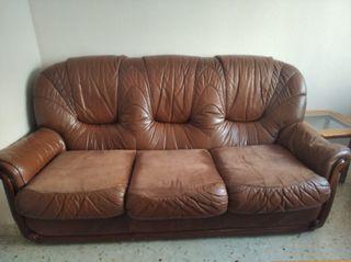 Sofa de 3 plazas + 2 sillones individuales de piel