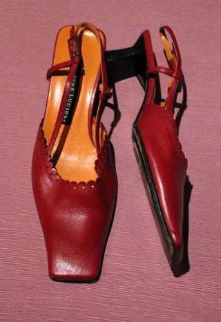 Zapatos Gastone Lucioli Talla 36 Piel Rojo Vintage