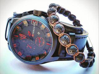 Conjunto reloj Curren y pulsera lava volcánica