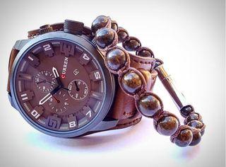 Conjunto reloj Curren y pulsera de broncita