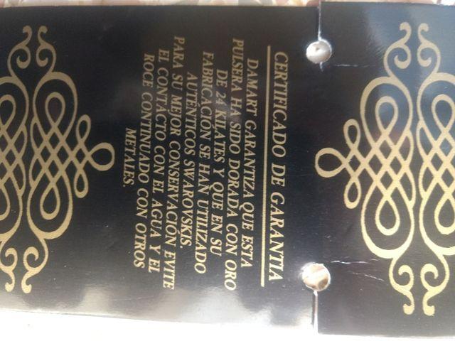 pulsera con Swarovski bañada en oro 24 kilates
