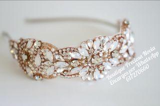 Tocado de novia en color oro rosa , tiara de novia