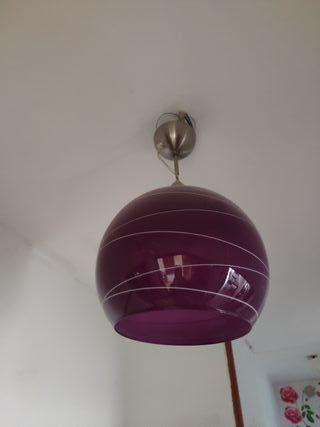 Lampara de techo cristal bola lila morada