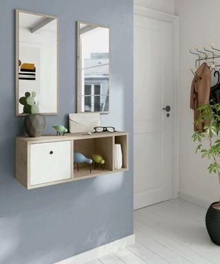 Mueble recibidor moderno 2 espejos blanco y roble