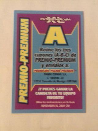 LETRA A PREMIO-PREMIUM ADRENALYN 19 20 PANINI