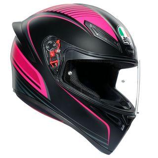 Casco integral AGV mujer negro y rosa.