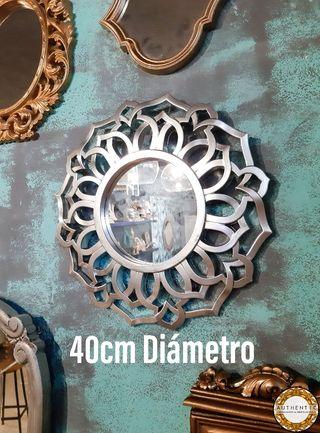Espejo Barroco Sol 40cm Diámetro Plata Cromo