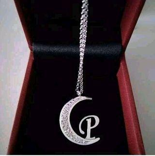 Cadena doble plata luna+inicial circonitas