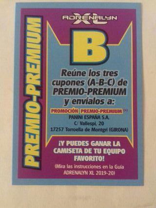 LETRA B PREMIO-PREMIUM ADRENALYN 19 20 PANINI