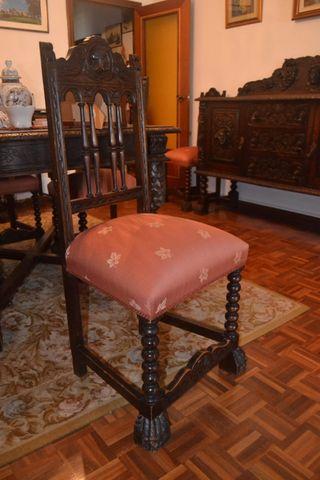 conjunto de 6 sillas, trono y 2 sillones