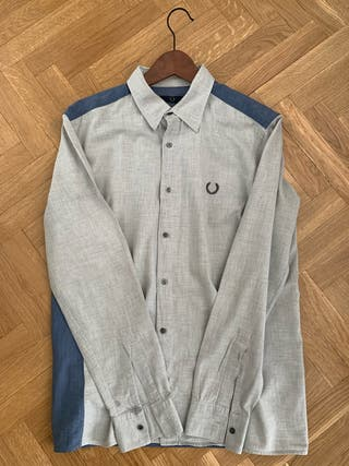 """Fred Perry Vintage """"Two tone"""" cmaisa azul y gris"""