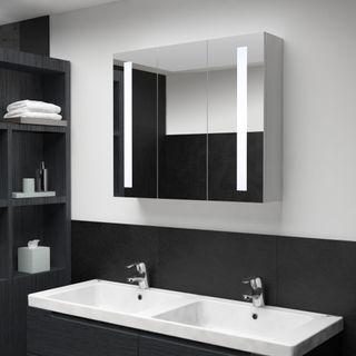 Armario de Cuarto de Baño con Espejo Y Led 89X14X6