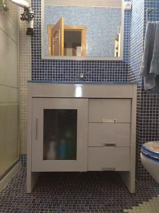 Mueble de baño,lavado de cristal y espejo