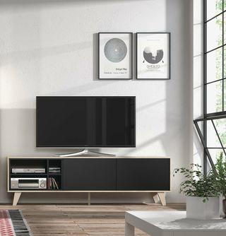 Mueble de comedor salon TV Roble y Gris