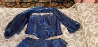 Corpiño y falda de fiesta azul de seda 100%