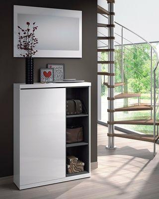 Recibidor mueble zapatero entrada + con espejo, Bl