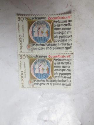 sellos España 20 pesetas 1987 día del sello