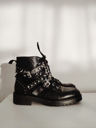 Zara Leather Jeweled Boots