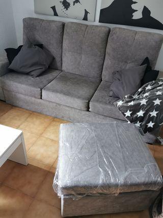 Sofa cama 3 plazas Gris +PUFF