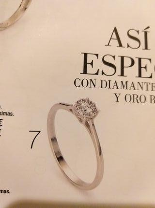 precioso anillo oro blanco y diamantes