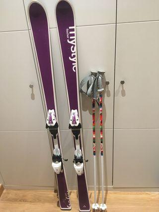 Esquís 155, fijaciones y palos Fischer