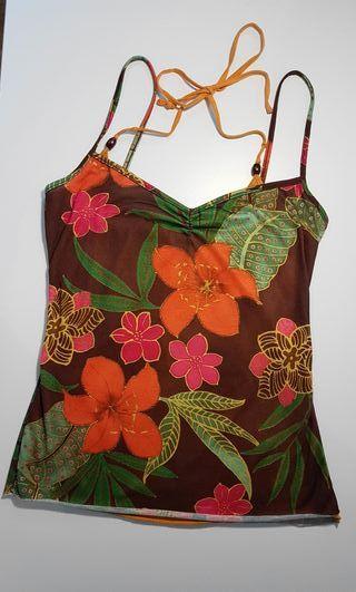 Camiseta de tirantes de flores hawaiana talla S