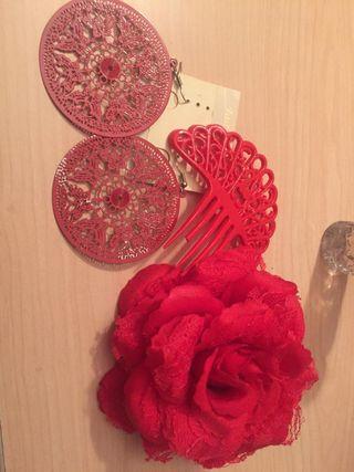 Flor ,pendientes y peineta flamenco