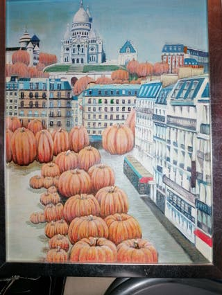 Cuadro Paris óleo original Marco plateado