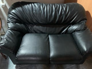 Sofá dos plazas piel negro