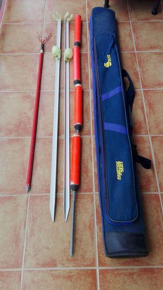 Funda para cañas surfcasting, soportes y percha
