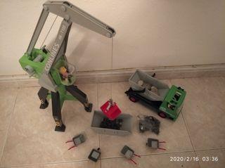 Playmobil,grúa,camión,soldados,lote,obra