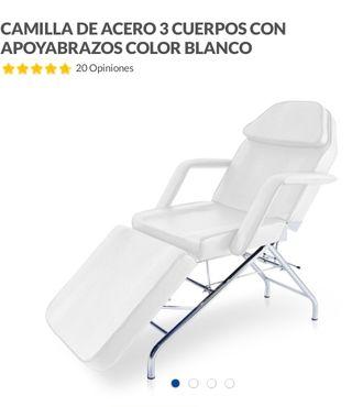 Camilla color blanco, de acero 3 cuerpos abatible