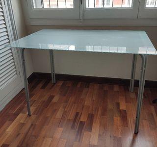 Mesa despacho de vidrio opaco blanco