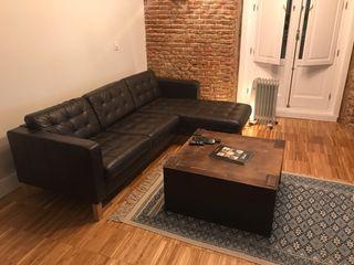 Sofá chaise longue de cuero negro