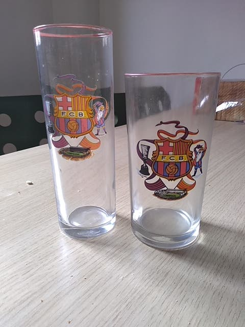 2 vasos de vidrio F.cBarça