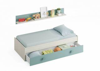 Cama doble compacto juvenil nido + estante, cama