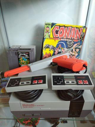 Nintendo + 2 mandos + 8 Juegos + pistola