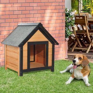 Caseta para Perro Exterior Jardín de Madera Maciza