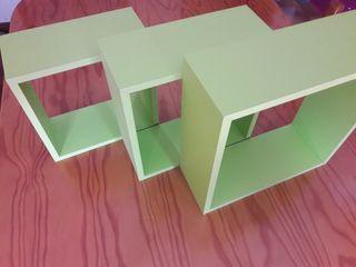 3 estanterias color verde lima