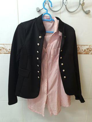 blazer negra mujer talla única+camisa rosa 7€