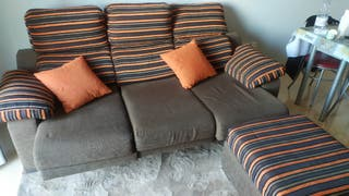 Sofa 3 plazas extensible + puff (chaiselong)